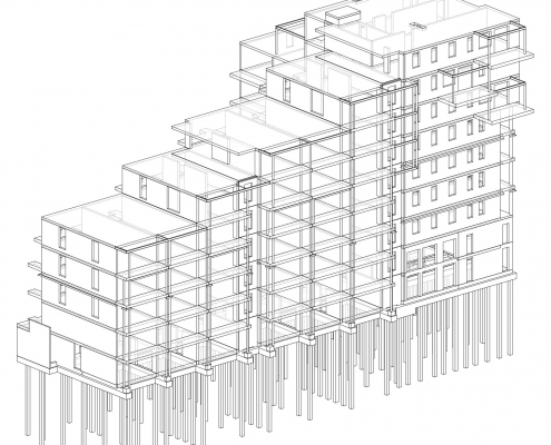 Hoofddraagconstructie appartementencomplex De Groene Trede