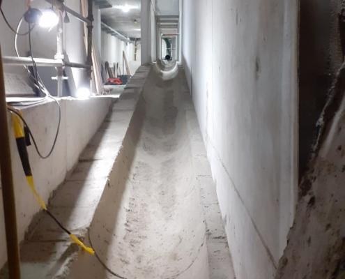 Gootconstructie binnen bestaande betonconstructie